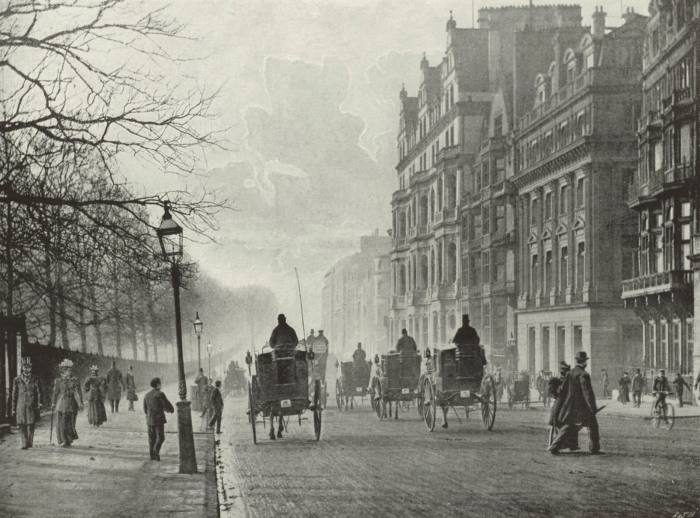Looking west on Piccadilly in 1896, with Green Park to the left
