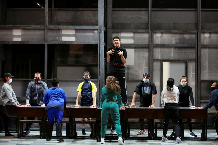 The cast of West End musical 'Everybody's Talking About Jamie' rehearsing at London's Apollo Theatre last year