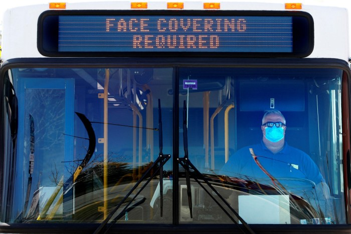 A bus in Portland, Maine, displays a sign requiring passengers to wear face masks. Marketing executives have leapt into action to capitalise on anxiety about using public transport