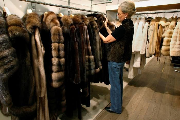 Mink and sable coats on display in Copenhagen.