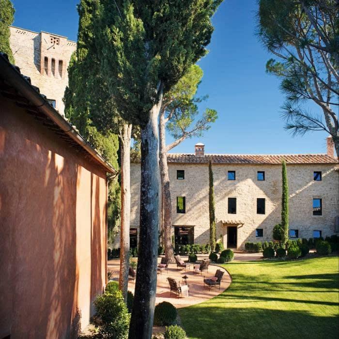 The courtyard in the Castello di Reschio