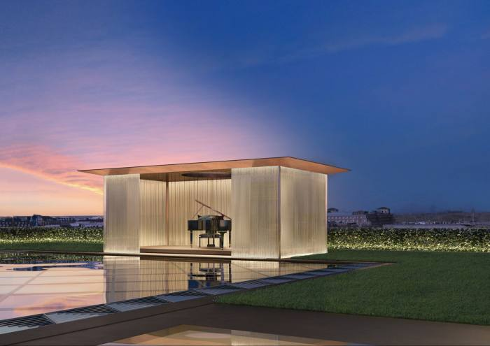 A rendering of one of the two glass-sided pavilions (one with agrand piano) that will form part of the penthouse supersuite on theroof