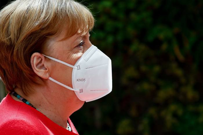 """German chancellor Angela Merkel in Brussels on July 20. """"The first reflexes, our own included, were rather national and not consistently European"""" she said in June"""
