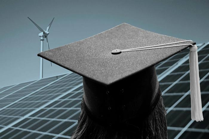 Solar panel, wind turbine and mortarboard