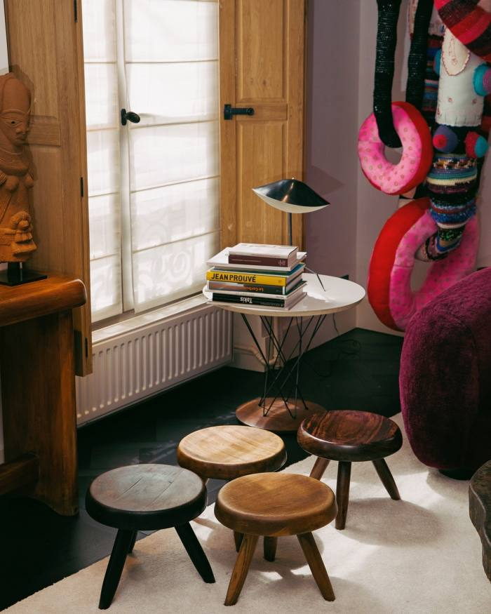 Laffanour's Perriand stools, Serge Mouille desk lamp and Isamu Noguchi side table