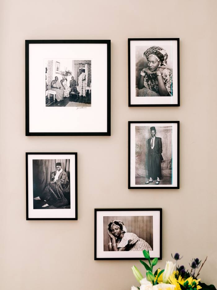 Photography by James Barnor (top left, circa 1958) and Mama Casset (other four artworks, circa 1950-1970)