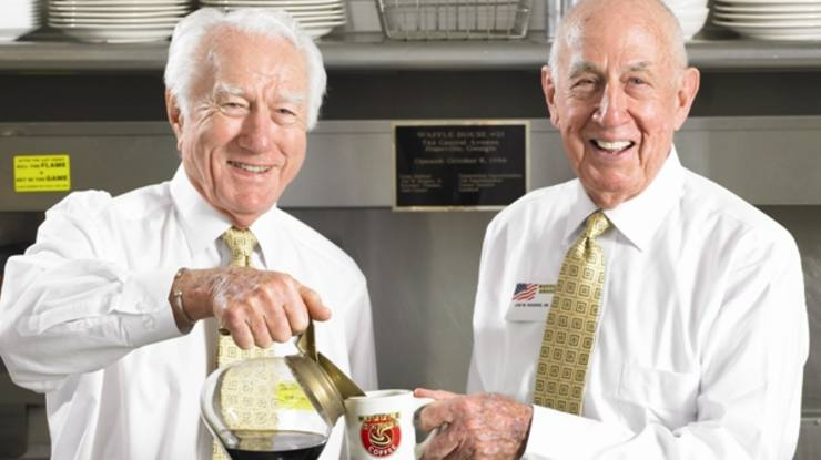 Joe Rogers, Sr. and Tom Forkner, founders of Waffle House, share coffee and tips on hurricane preparedness