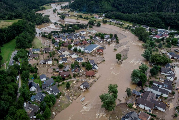 Flood damage to the Rhineland town of Insul during the summer floods that struck Germany