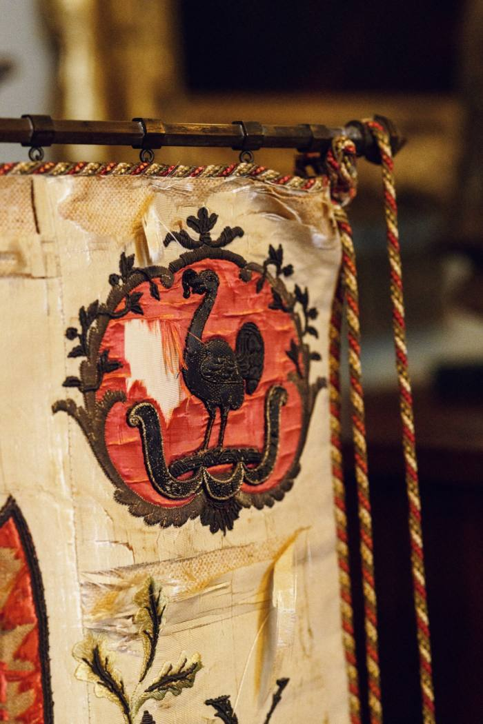 The Coke crest on a banner of the Holkham Yeomanry Cavalry