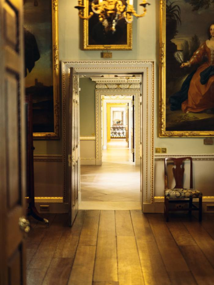 Looking through doors in the Stranger's Wing towards the Marble Hall at Holkham