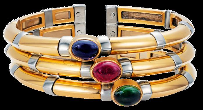 Bulgari 18ct-yellow- and white-gold, lolite, Pink tourmaline and green tourmaline triple cuff bangle, c1980s, £12,500
