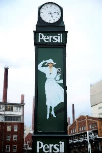 Persil's 'White Lady' advertising outside Henkel's Düsseldorf HQ. Carsten Knobel has promised to spend an additional €350m on advertising and improving IT