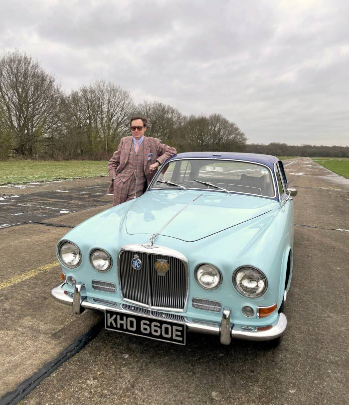 Nick Foulkes with Lord Mountbatten's Jaguar 420