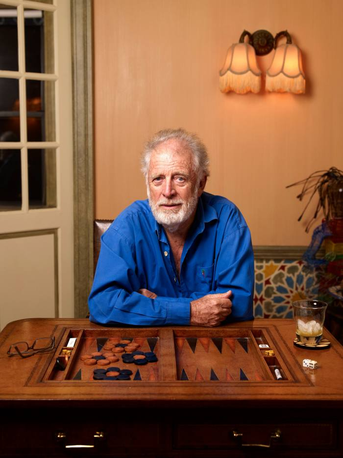 Chris Blackwell in New York with one of his backgammon boards
