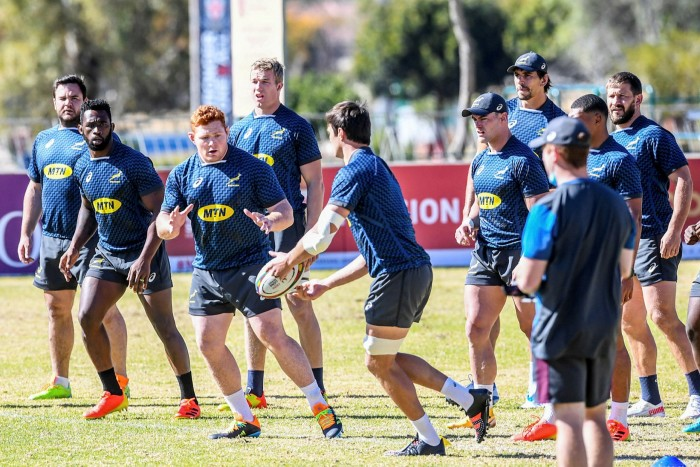 Springbok players during the South Africa national men's rugby team captains run in Johannesburg