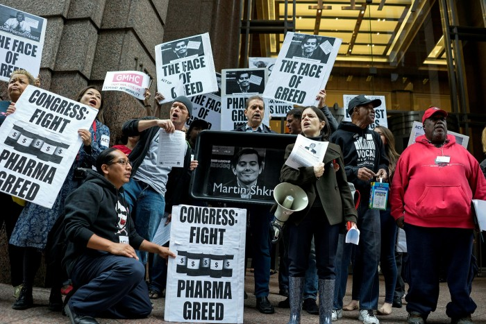 Price gouging protests against Turing Pharmaceuticals chief Martin Shkreli in 2015