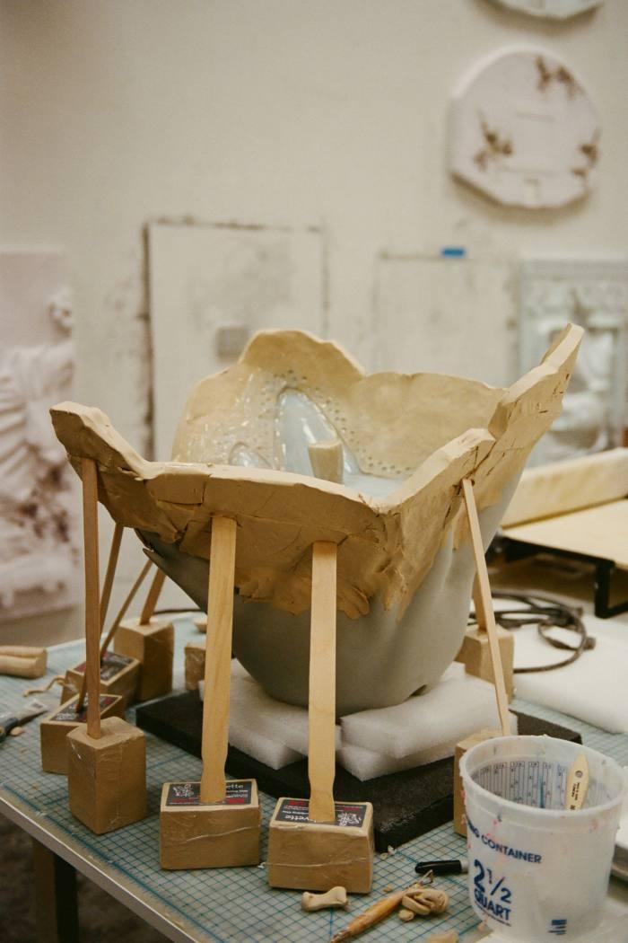 A mold in progress in the studio