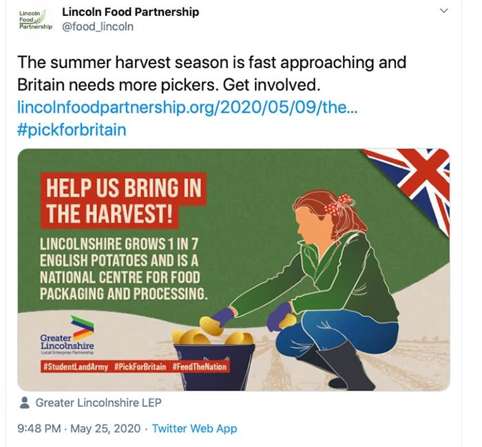 An advertisement calling for fruit and vegetable pickers, after farmers began a race to recruit local workers to replace overseas pickers no longer able to travel