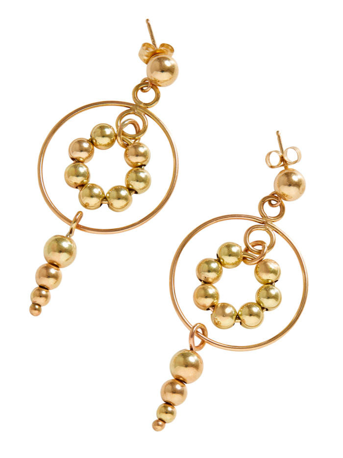 Permanent Collection gold Solar Circle earrings, $600