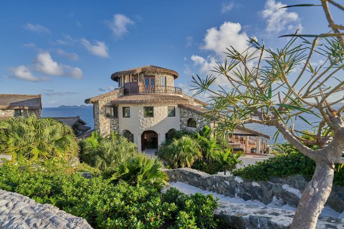 Aerial BVI Buck Island - private eco-retreat can accommodate up to 30 people