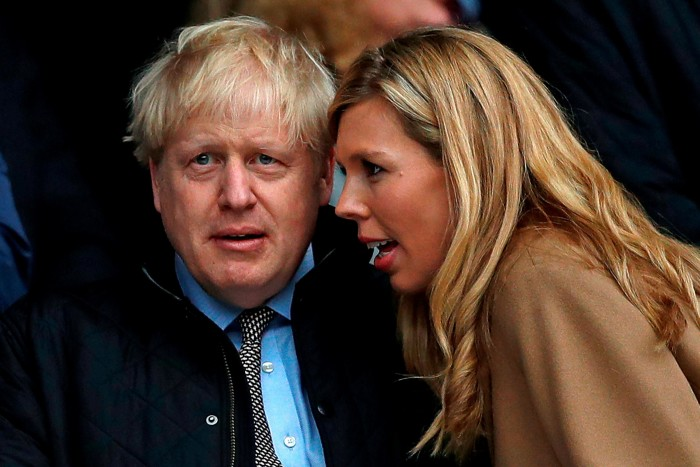 Boris Johnson with his fiancée Carrie Symonds, whose oversight of the renovations of the couple's No 10 flat saw her dubbed 'Carrie Antoinette' on social media