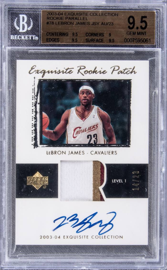 A signed LeBron James rookie card, sold by Goldin Auctions for $1.8m in July 2020