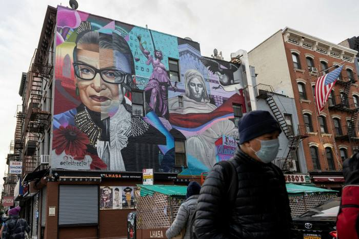 Mural featuring the late Supreme Court Justice Ruth Bader Ginsburg by street artist Elle, East Village