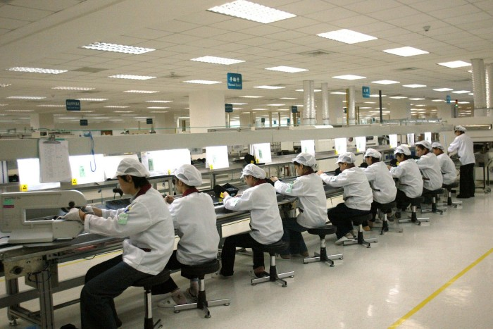 Wistron workers in China. It  says it so far handles 70 per cent of its production out of its factory in the Chinese city of Chongqing and only the remaining 30 per cent out of Taiwan