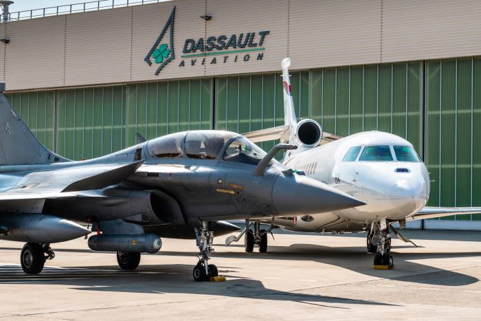 Dassault's Rafale fighter jet and Falcon 8X at its flight-test centre in Istres, near Marseille