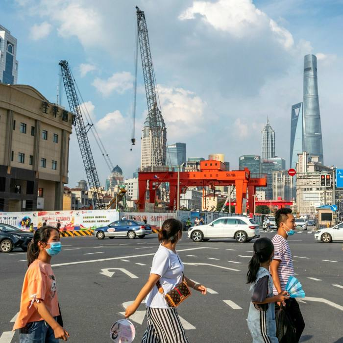 The streets of Renmin Road, Shanghai, in July