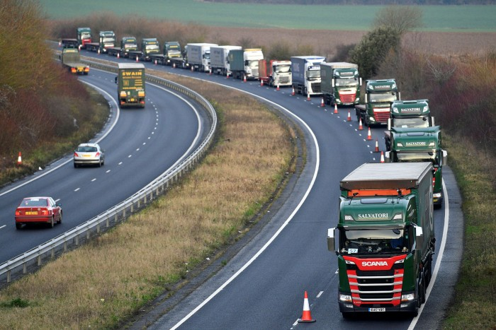 Trucks queue in Kent last year during an exercise to prepare for the expected backlog of traffic after the imposition of customs checks on goods crossing the Channel