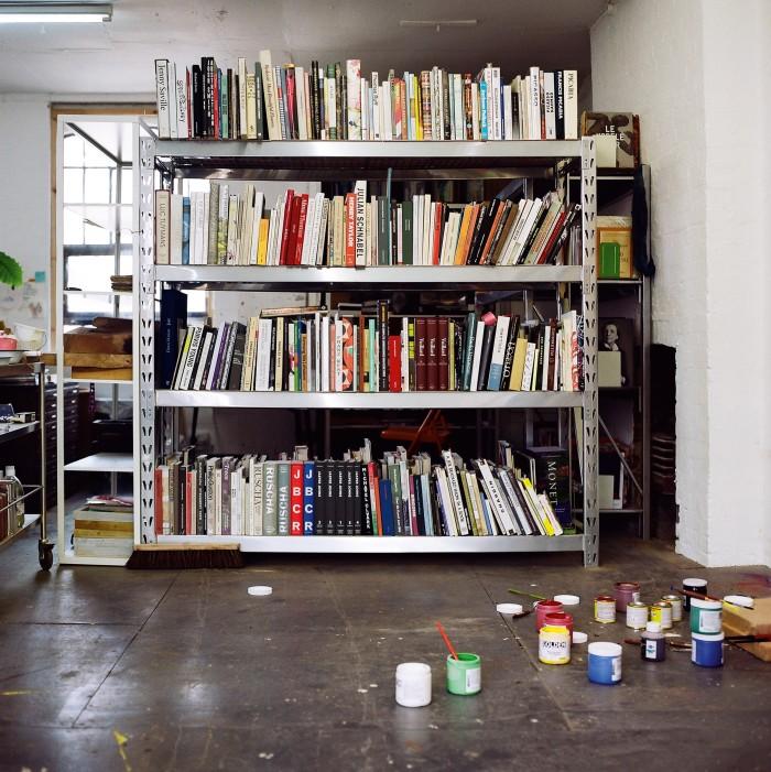 Books in his Hackney studio