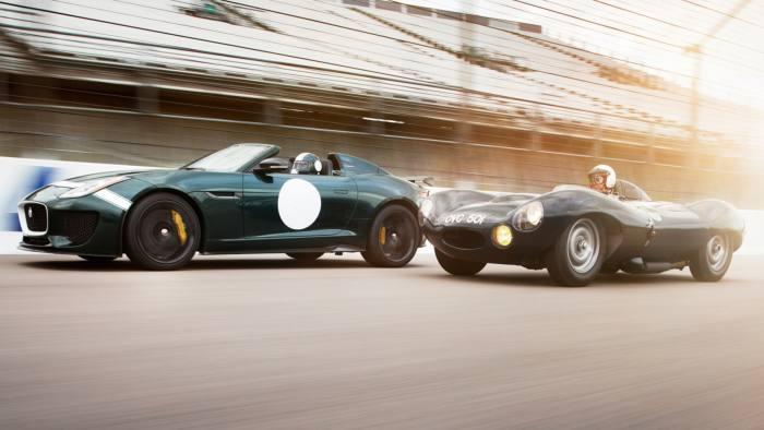 2016 Jaguar F-Type Project 7 (left) and the 1950s Jaguar D-Type
