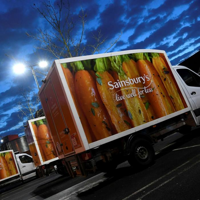 Sainsbury's delivery vans at a London supermarket branch in January