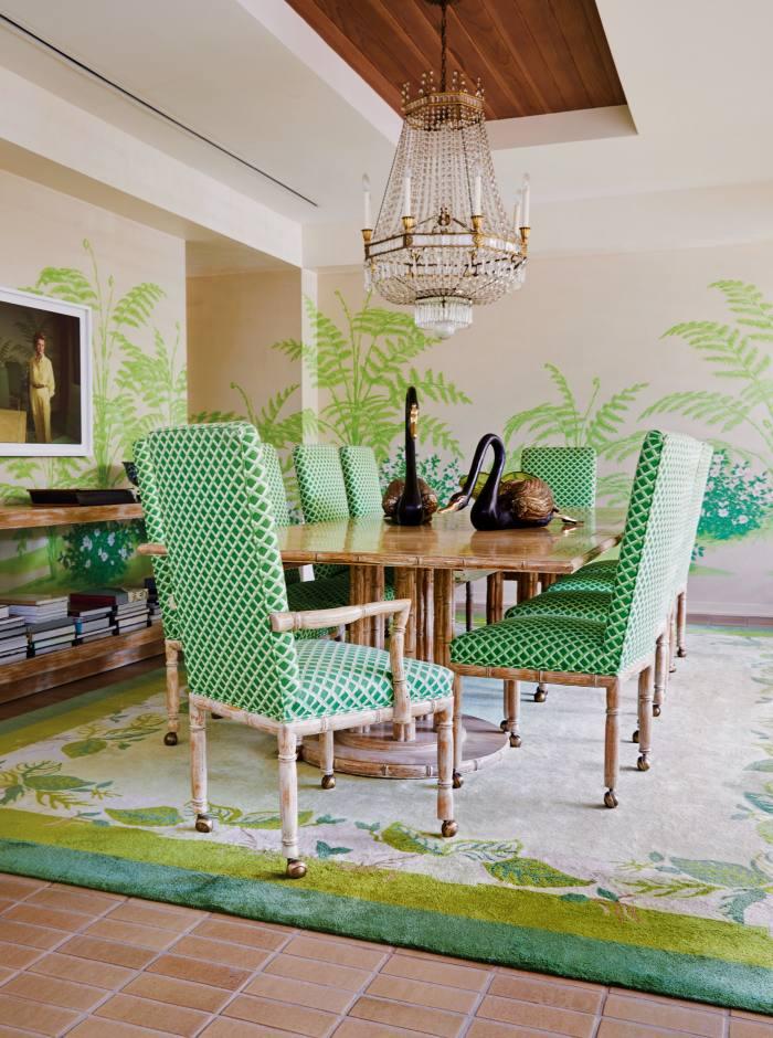 The dining room with Garth Benton mural, Maison Jansen swans and c1900 Maison Baguès chandelier
