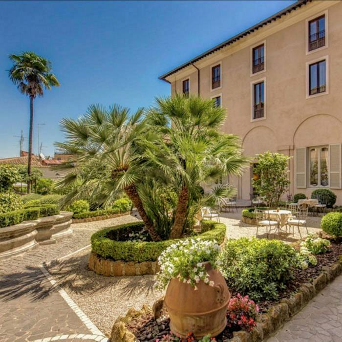 The hotel features beautifully planted courtyards