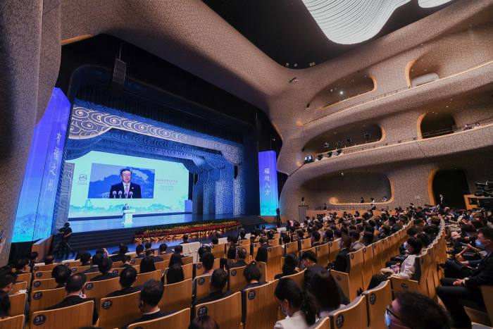 Tian Xuejun delivers a during the opening of the 44th session of the Unesco World Heritage Committee in China's Fujian province