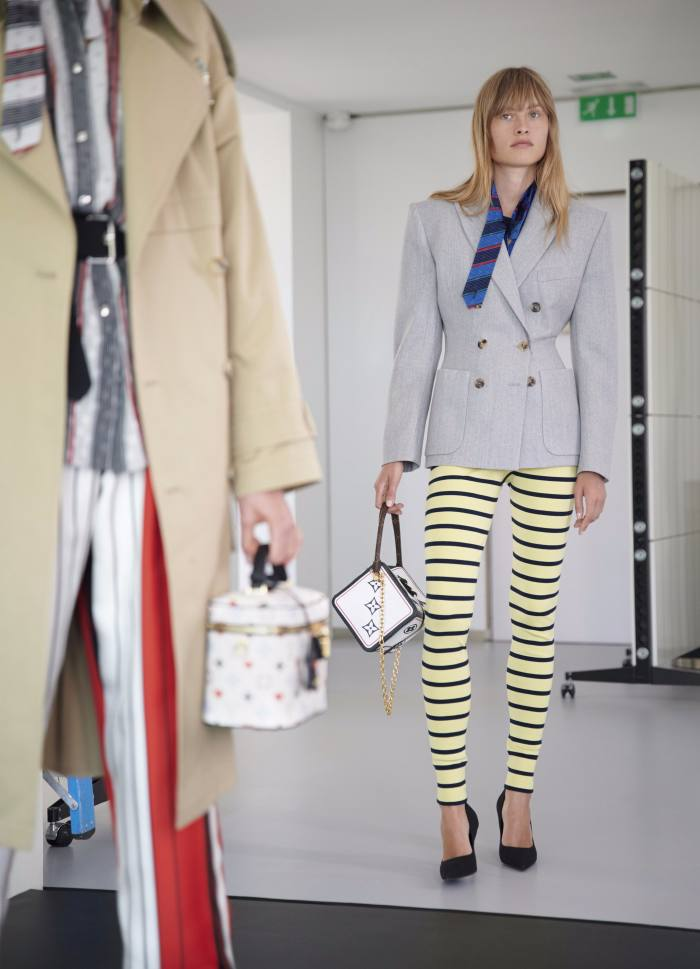 Louis Vuitton's cruise collection featured striped leggings
