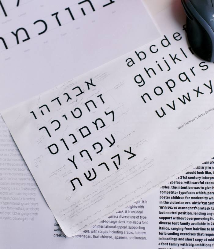 Alphabets for Aktiv Hebrew and Aktiv Grotesk at the studio. The BBC considered commissioning a geometric, grotesque-based font from Dalton Maag before settling on a more inclusive 'humanist' one