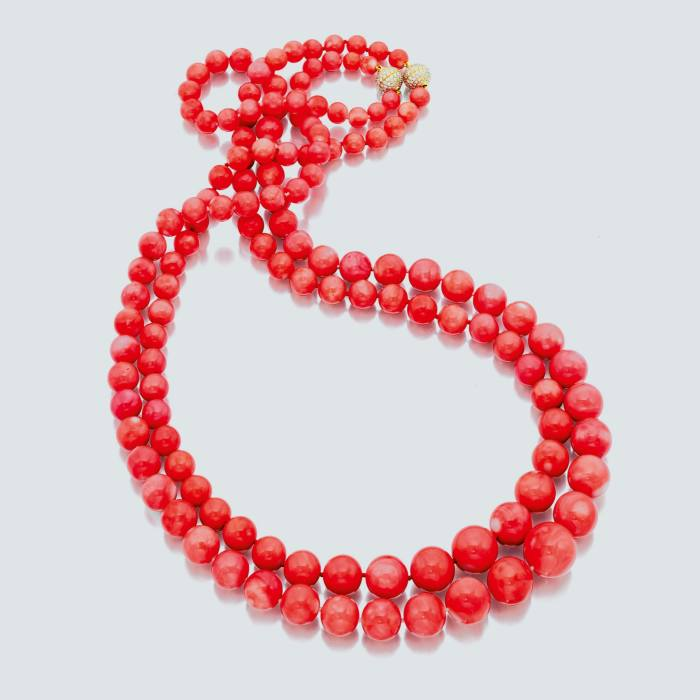 Assael Angel Skin coral, diamond and gold necklace, from $55,000