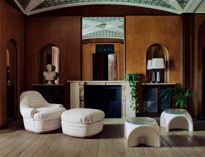 Wickham armchair, from £5,000.Wickham ottoman, £2,000. Marden coffee tables, £6,000 each