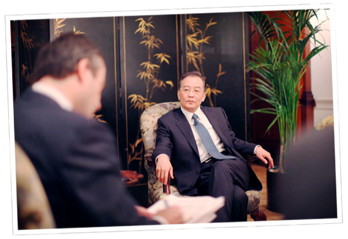 Interviewing Chinese premier Wen Jiabao in London in 2009
