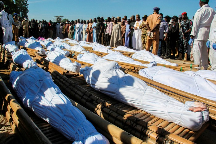 Mourners in Nigeria attend the funeral of 43 farm workers killed by Boko Haram fighters. Western powers had considered Chad's Idriss Déby their most important ally in the fight against the Islamist terror group