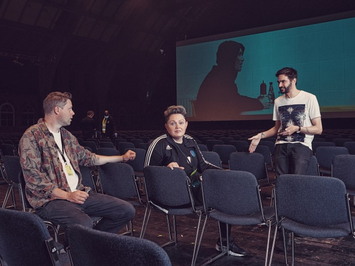 Hickson at the Manchester Central Convention Complex with novelist Max Porter (left) and musician Jon Hopkins