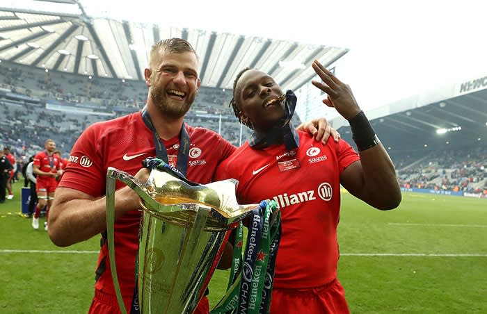 Itoje celebrates Saracens' victory in the 2019 Champions Cup final against Leinster