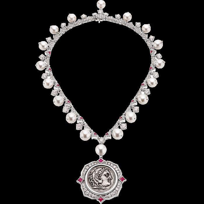 Bulgari platinum, diamond, pearl, ruby and ancient silver coin Treasure necklace, POA