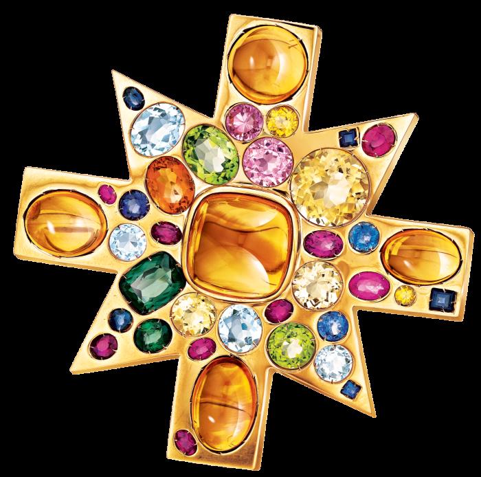 Verdura coloured stone and gold Ravenna Byzantine pendant brooch, £39,300