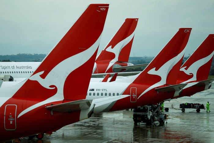 Qantas aircraft parked at Melbourne International Airport