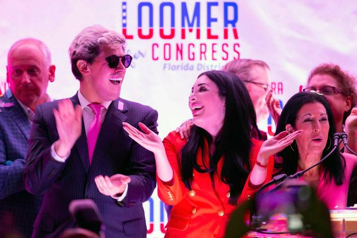 Laura Loomer, a far-right Republican candidate, celebrates winning a primary race in Florida
