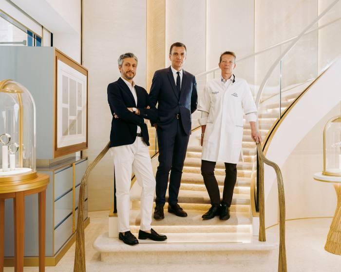 From left, creative director Ehssan Moazen, CEO Jean-Marc Mansvelt and workshop director Benoît Verhulle